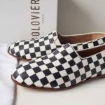 <ソロヴィエール|SOLOVIERE PARIS>イタリア製スリッポンシューズ「PANTOME」BLACK WHITE DAMIER SLIPPER CALF NAPPA|40