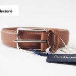 <アンダーソンズ|Anderson's>3センチ幅 カーフベルト|95|ライトブラウン|グレインレザー
