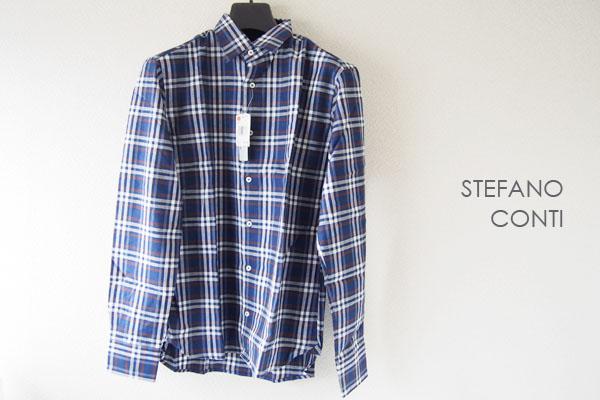<ステファノコンティ>チェック柄コットンシャツ(ブルー系)