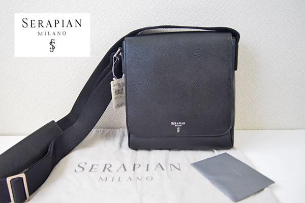 セラピアンミラノ|Serapian |レザーショルダーバッグ|ブラックイメージ01