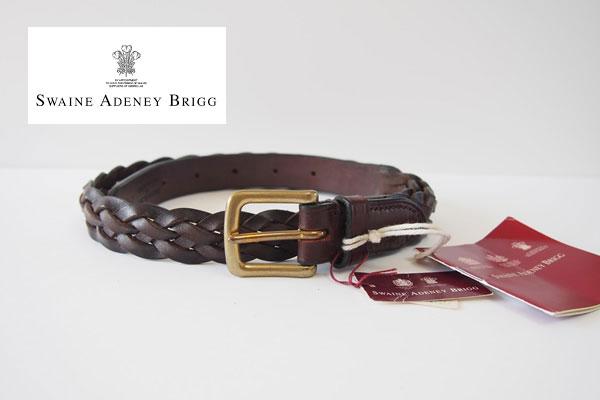 スウェイン・アドニー Swaine Adeney ブライドルレザー編み込みベルト(ブラウン ハバナ) 31/80 No.6 Plaited leather belt with brass west end buckle Bridle Hideメインイメージ