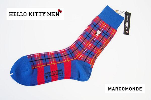 マルコモンド|MARCOMONDE|HELLO KITTY MEN|コラボ|クルー丈ソックス|チェック柄|レッド×ブルー|サンリオ男子イメージ