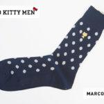マルコモンド|MARCOMONDE|HELLO KITTY MEN|コラボ|クルー丈ソックス|ドット柄|ネイビーブラック|サンリオ男子イメージ
