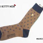 マルコモンド|MARCOMONDE|HELLO KITTY MEN|コラボ|クルー丈ソックス|ドット柄|カーキ|サンリオ男子