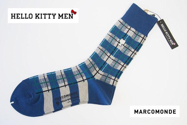 マルコモンド|MARCOMONDE|HELLO KITTY MEN|コラボ|クルー丈ソックス|ドット柄|カーキ|サンリオ男子イメージ
