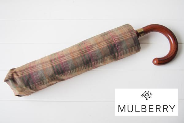 マルベリー|MULBERRY|タータンチェック柄折り畳み傘メインイメージ