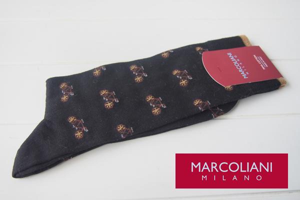 マリコリアーニ|marcoliani|自転車柄|クルー丈ソックス|ブラック メインイメージ
