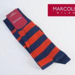 マリコリアーニ|marcoliani|クルー丈ミスマッチボーダーソックス|ネイビー×オレンジ イメージ01