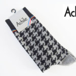 アシル|Achile|クルー丈カジュアルソックス|ハウンドトゥース柄|モノトーン イメージ01