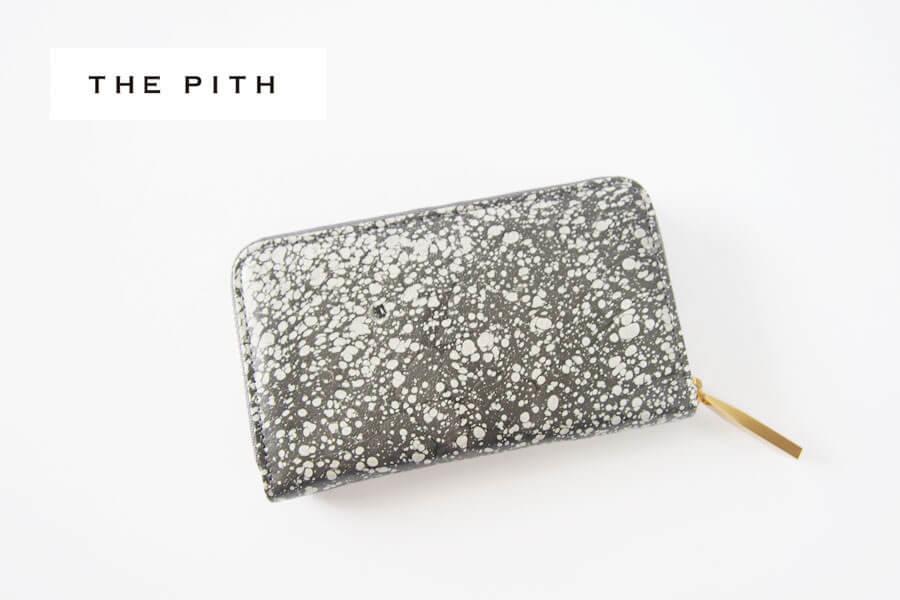 ザ・ピス|THE PITH|ミニラウンドジップウォレット|財布|三越伊勢丹限定マーブルレザーコレクション|スミナガシレザー|グレイイメージ01