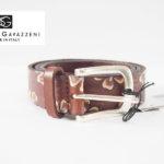 セルジオ・ガヴァッツェーニ|SERGIO GAVAZZENI|フラワー柄型押しレザーベルト|85|ブラウンイメージ01