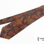 ルイファグラン|LOUIS FAGLIN|クラヴァット ボワバン|コラボ|稀少|'50~'80年代デッド生地使用ネクタイ|フラワー柄|ダークグリーン系イメージ01