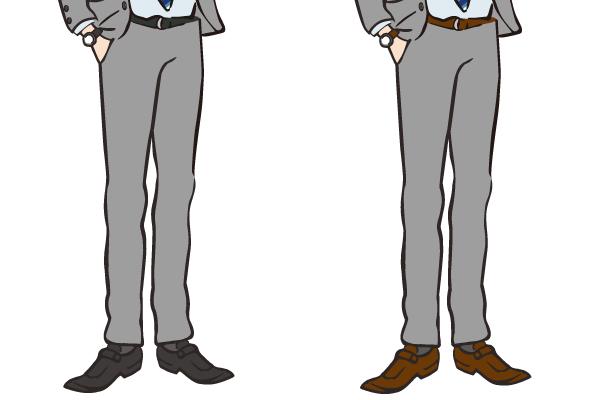 ベルトと靴のコーディネート ブラックとブラウン