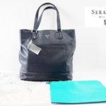 セラピアンミラノ|Serapian |カーフレザー クラッチ内臓 トートバッグ|Millennial Tote Pebble/Gange Navy(ネイビー)