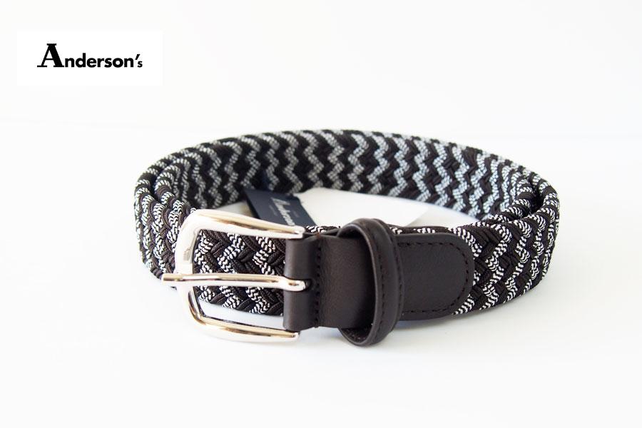 アンダーソンズ|Anderson's|エラスティック編み込みベルト|M|ダークブラウンイメージ01