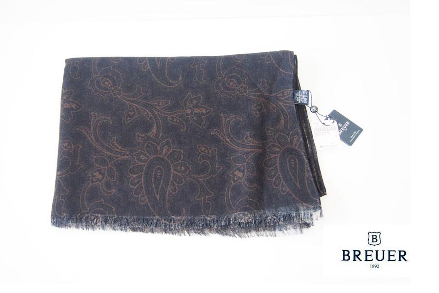 ブリューワー BREUER ペイズリー柄ウールストール ブラック×ブラウンイメージ01