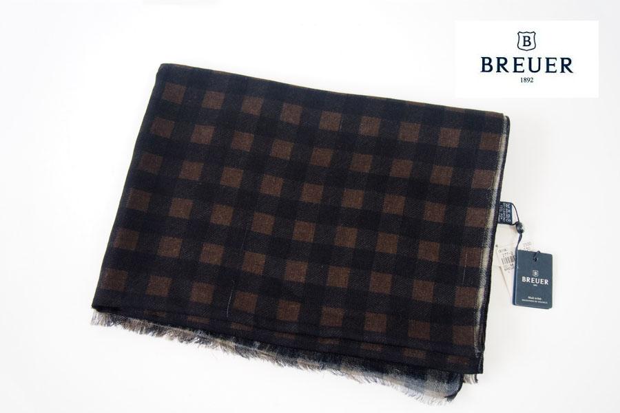 ブリューワー BREUER チェック柄ウールストール ブラウン×ブラックイメージ01