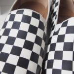 ソロヴィエール|SOLOVIERE PARIS|イタリア製スリッポンシューズ「PANTOME」BLACK WHITE DAMIER SLIPPER CALF NAPPA|40 イメージ01