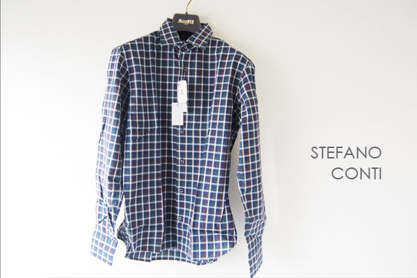<ステファノコンティ>チェック柄コットンシャツ(グリーン×ブラウン)