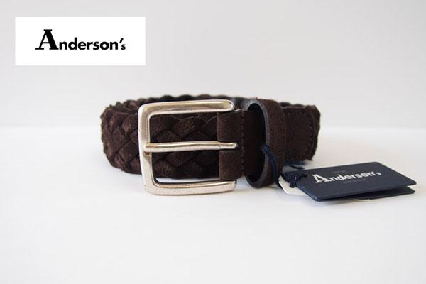 アンダーソンズ|Anderson's|スエード編み込みベルト|85|ダークブラウンメインイメージ
