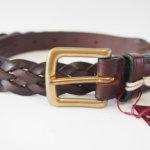 スウェイン・アドニー|Swaine Adeney|ブライドルレザー編み込みベルト(ブラウン|ハバナ)|31/80|No.6 Plaited leather belt with brass west end buckle Bridle Hide サブイメージ01