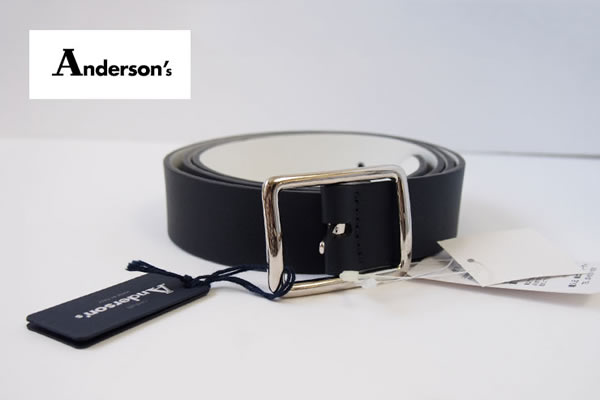 アンダーソンズ|Anderson's|カーフ リバーシブル ベルト|85|ネイビー×ホワイトイメージ01