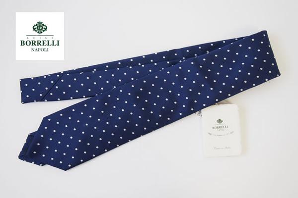 ルイジボレッリ|LUIGI BORRELLI|ドット柄シルクネクタイ|ネイビーイメージ01