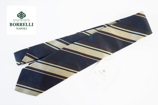 ルイジボレッリ|LUIGI BORRELLI|シルクレジメンタルネクタイ|ネイビー×ブラウン×ベージュイメージ01