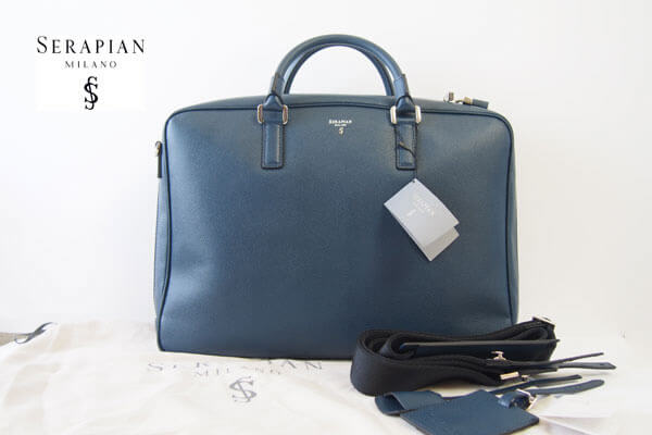 セラピアン|Serapian Milano|2WAY ブリーフケース|ネイビー|Single briefcase with zip Evolution Ocean Blue イメージ01