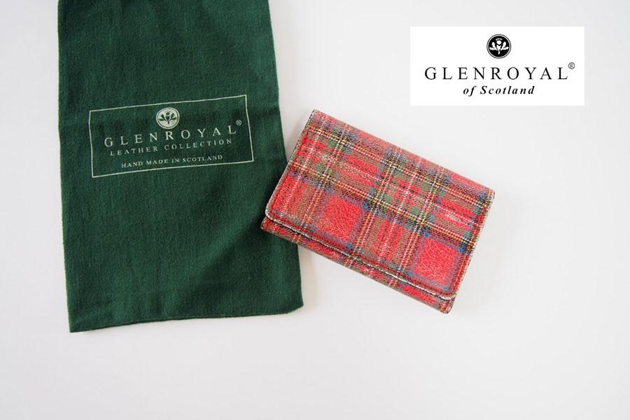 グレンロイヤル|GLENROYAL|タータンチェックプリントダメージレザーカードケース|レッドイメージ01