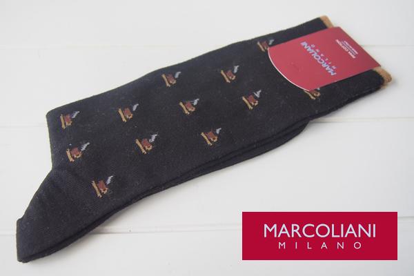 マリコリアーニ|marcoliani|カップ柄|クルー丈ソックス|ブラック メインイメージ