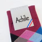 アシル|Achile|クルー丈カジュアルソックス|アーガイル柄|ボルドー イメージ02