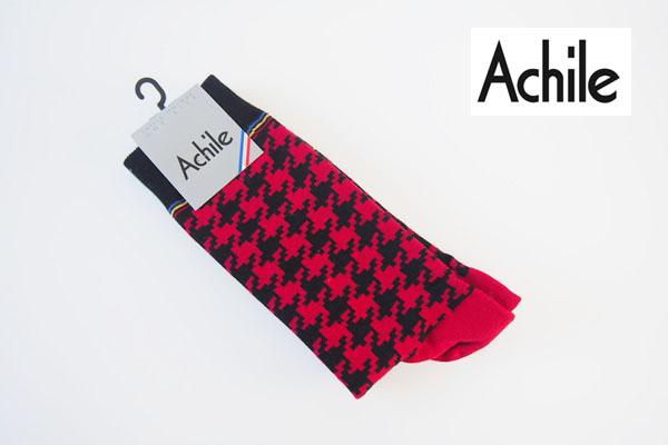 アシル|Achile|クルー丈カジュアルソックス|ハウンドトゥース柄|レッド×ブラック イメージ01
