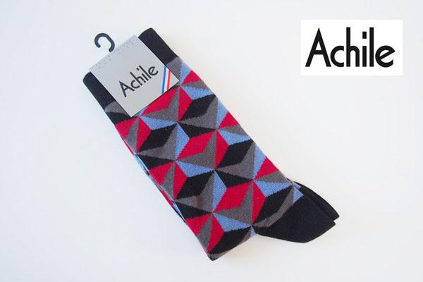 アシル|Achile|クルー丈カジュアルソックス|ブラック×レッド×パープル×グレー イメージ01