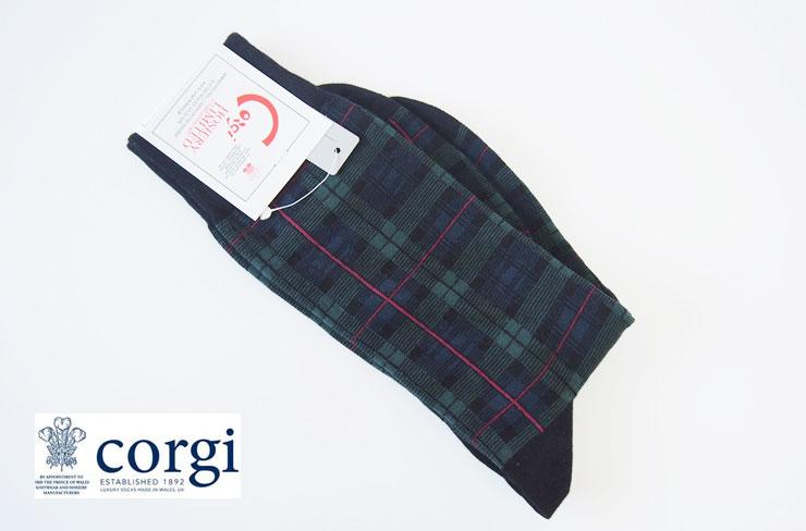 コーギー|cogi|クルー丈ブラックウォッチ柄ソックス メインイメージ