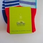 デピオ|DePio|クルー丈ボーダー柄カジュアルソックス|ブルー系 イメージ02