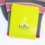 デピオ|DePio|クルー丈ボーダー柄カジュアルソックス|ブラウン×レッド イメージ02