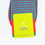 デピオ|DePio|クルー丈ボーダー柄カジュアルソックス|ブラウン×ブルー×レッド イメージ02