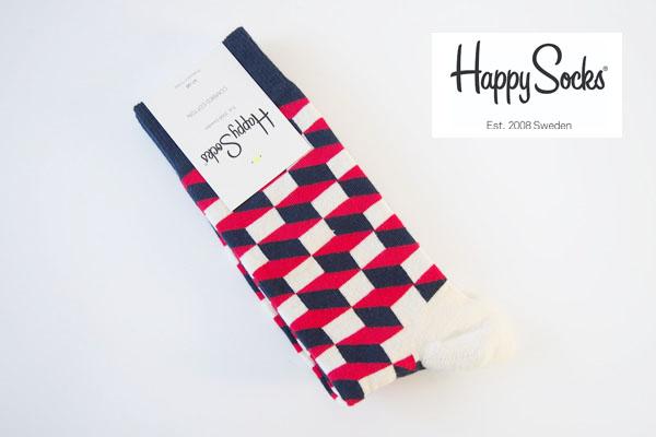 ハッピーソックス|happy socks|クルー丈カジュアルソックス|オプティックソックス|トリコロール イメージ01