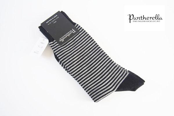 パンセレラ |PANTHERELLA|クルー丈ウールボーダーソックス|モノトーン イメージ01