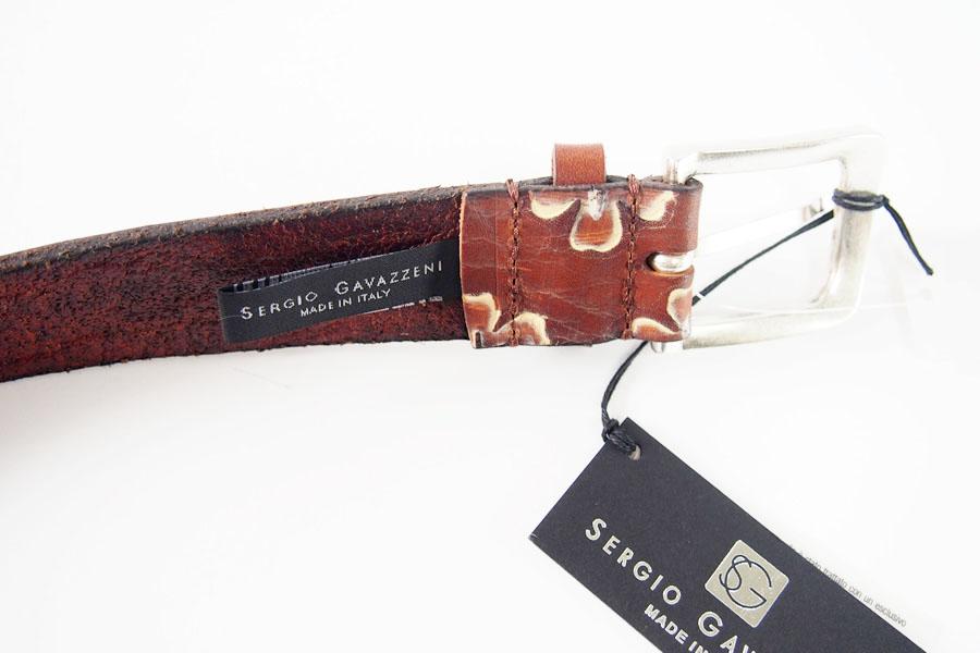 セルジオ・ガヴァッツェーニ SERGIO GAVAZZENI フラワー柄型押しレザーベルト 85 ブラウンイメージ04