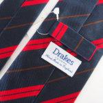 ドレイクス|Drake's|稀少|ビンテージ生地|レジメンタルネクタイ|ネイビー系イメージ06