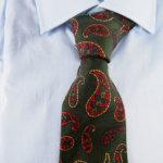ルイファグラン|LOUIS FAGLIN|クラヴァット ボワバン|コラボ|稀少|'50~'80年代デッド生地使用ネクタイ|ビッグペイズリー柄|グリーンイメージ010