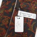 ルイファグラン|LOUIS FAGLIN|クラヴァット ボワバン|コラボ|稀少|'50~'80年代デッド生地使用ネクタイ|フラワー柄|ダークグリーン系イメージ06