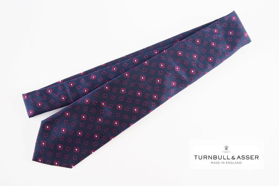 ターンブル&アッサー|Turnbull & Asser |小紋柄シルクネクタイ|ネイビーイメージ01