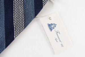 フィナモレ|Finamore|レジメンタルシルクネクタイ|ブルーイメージ