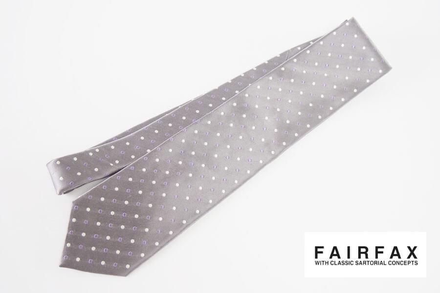 フェアファックス|FAIRFAX|ドット柄シルクネクタイ|グレイイメージ01