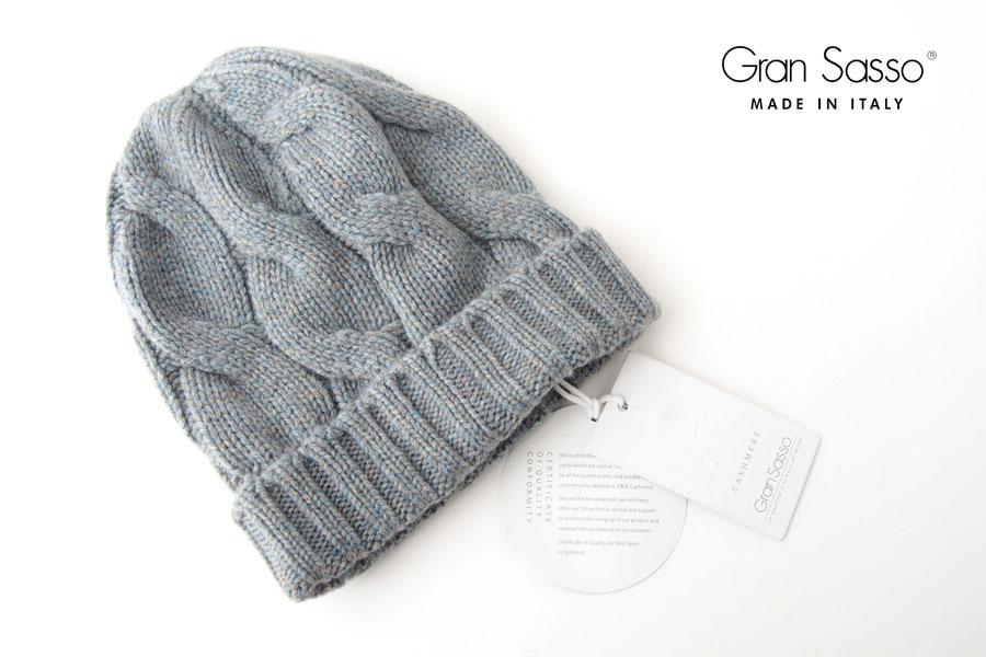 グランサッソ Gran Sasso カシミヤニットキャップ 帽子 ライトグレーイメージ01