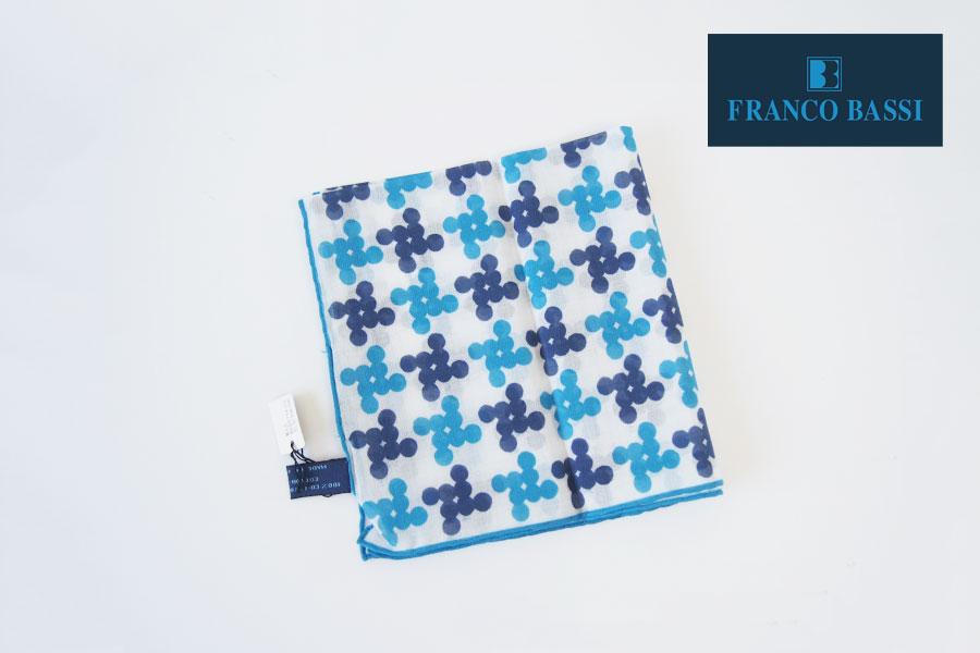 フランコバッシ|Franco Bassi|コットンポケットチーフ(ブルー系)イメージ01
