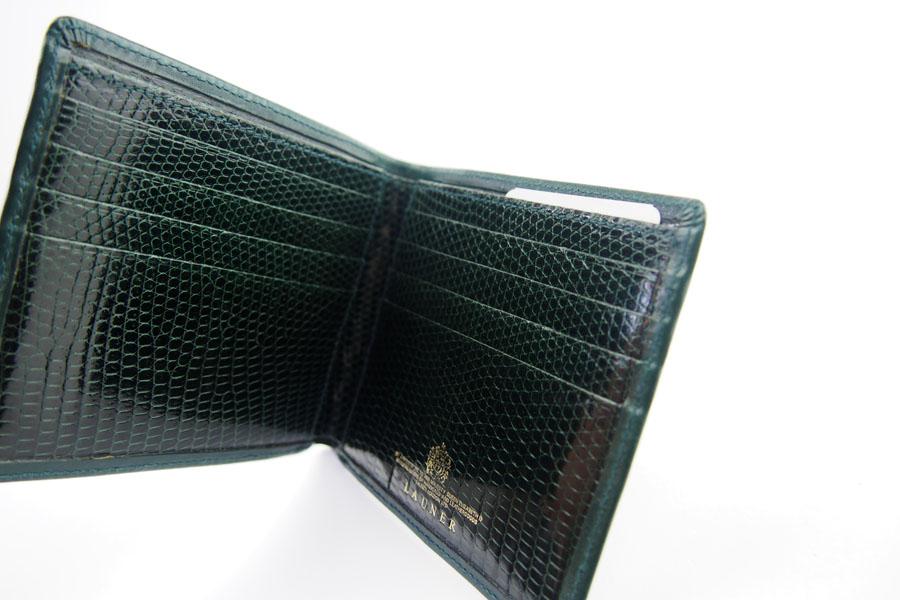 <ロウナーロンドン>折財布グリーンカーフ×リザードイメージ06